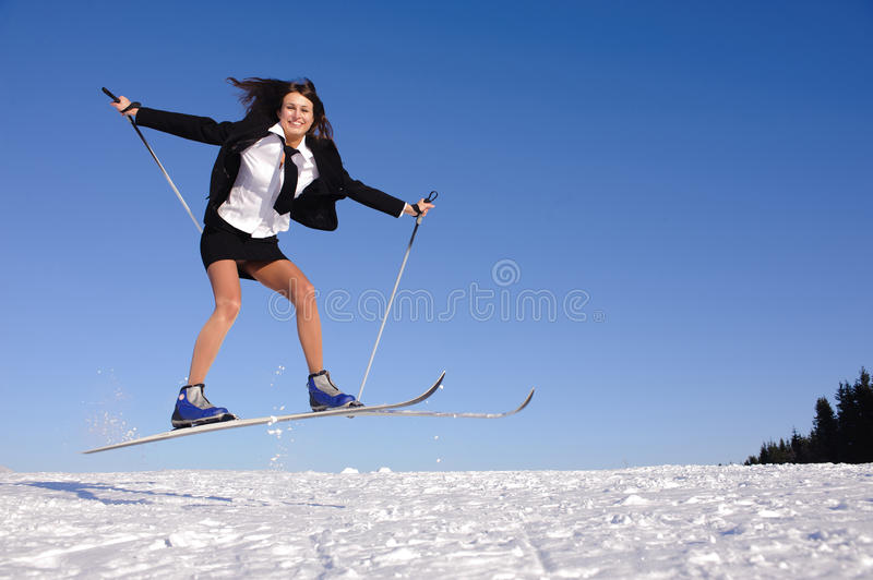 Young Businesswoman Jumping Stock Photography