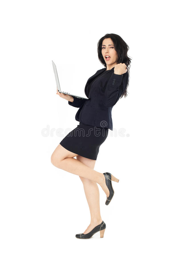 Young businesswoman with laptop royalty free stock photos