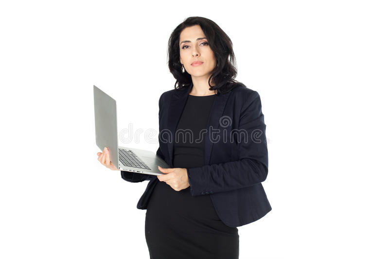 Young businesswoman with laptop royalty free stock images