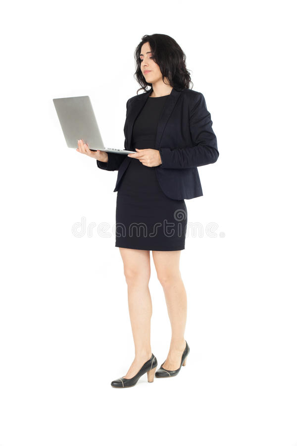 Young businesswoman with laptop stock photo