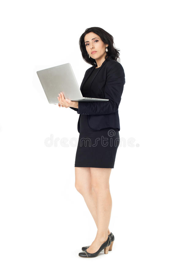 Young businesswoman with laptop stock image