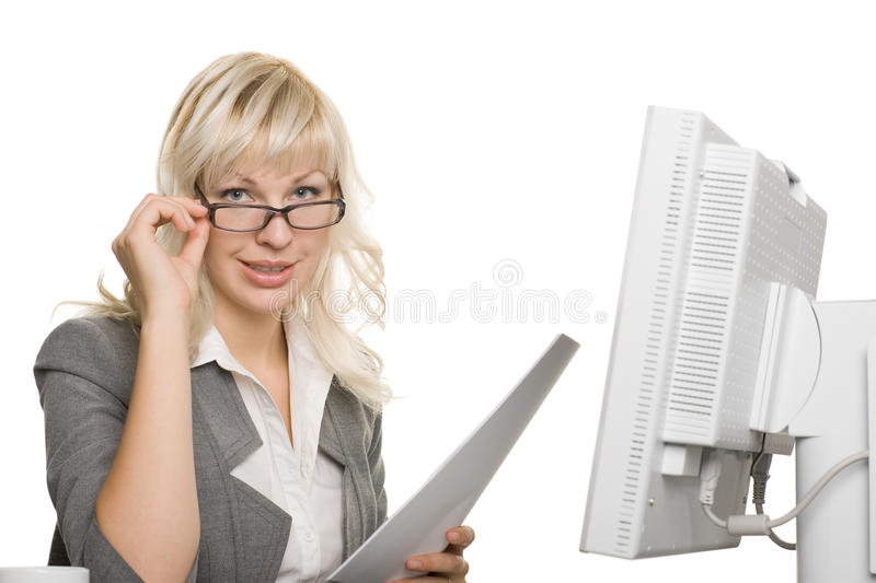 Young businesswoman with laptop computer royalty free stock photos