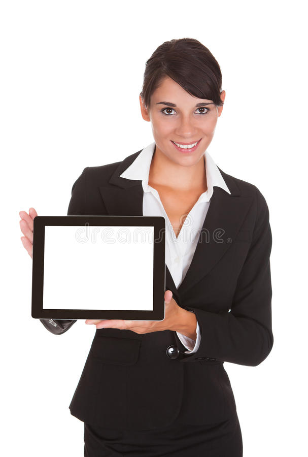 Young Businesswoman With Laptop. Happy Businesswoman Showing Laptop Over White Background royalty free stock images