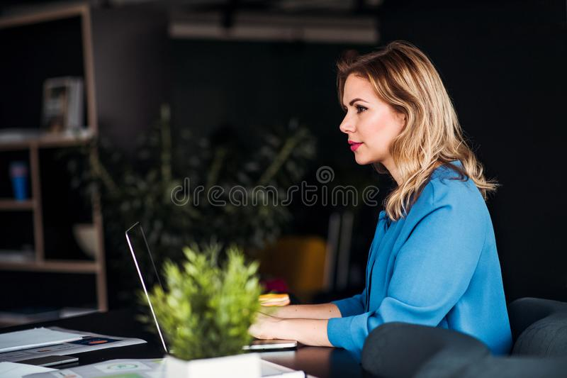Young businesswoman with laptop sitting in an office, working. stock images