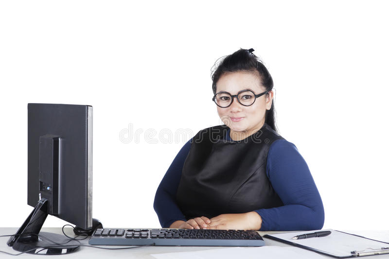 Young businesswoman looks confident stock photos