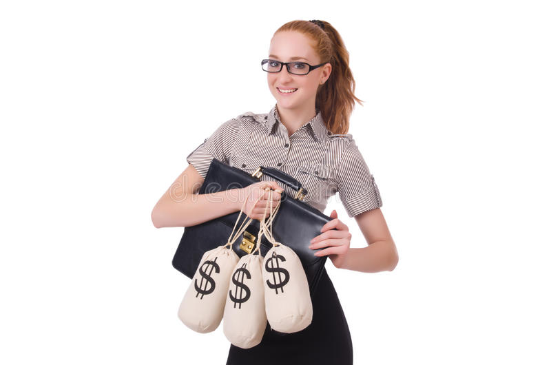 Young businesswoman. With money sacks on white stock images