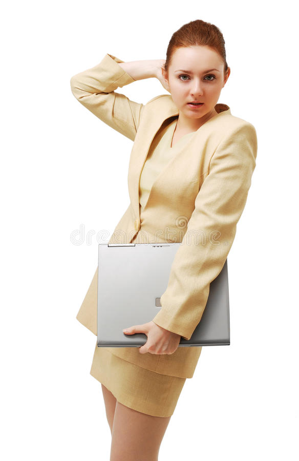 Download Young Businesswoman With Notebook PC. Stock Photo - Image: 16591046