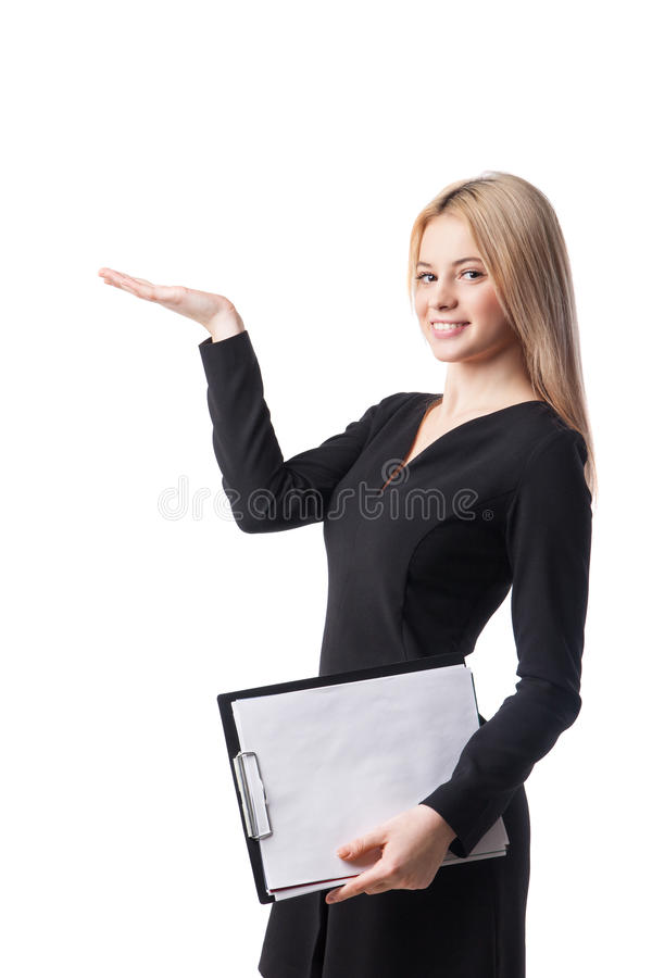 Young businesswoman offers something royalty free stock photo