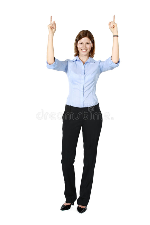 Young businesswoman pointing both hands up stock photos