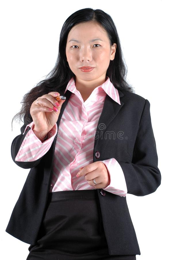 Download Young Businesswoman Pointing Pen Stock Photo - Image: 6783062