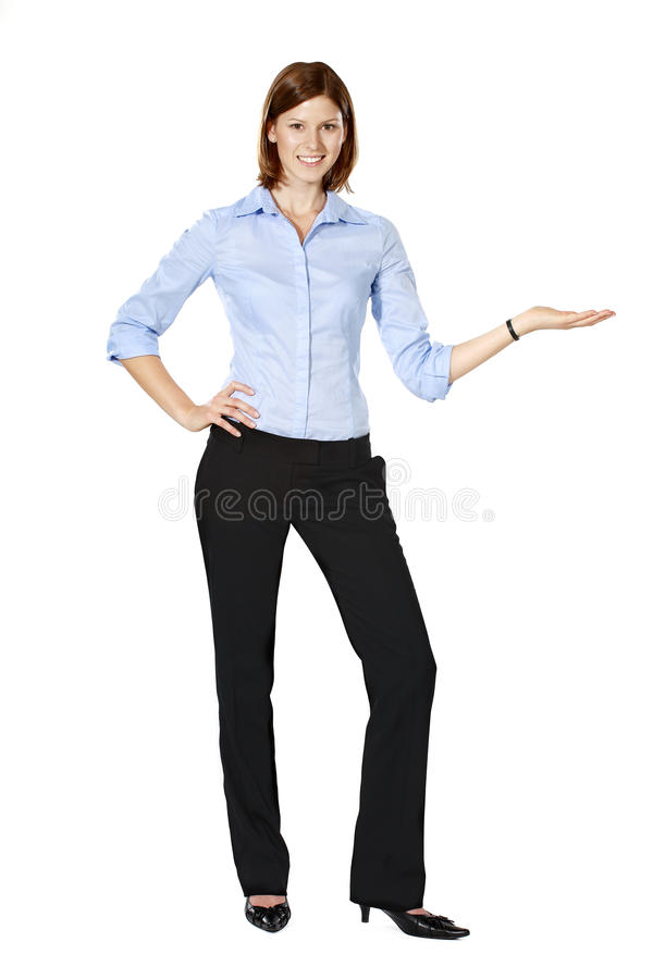 Young businesswoman pointing to the left stock images
