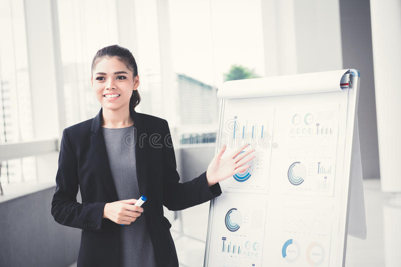 Young businesswoman presenting her work with flip chart stock photo