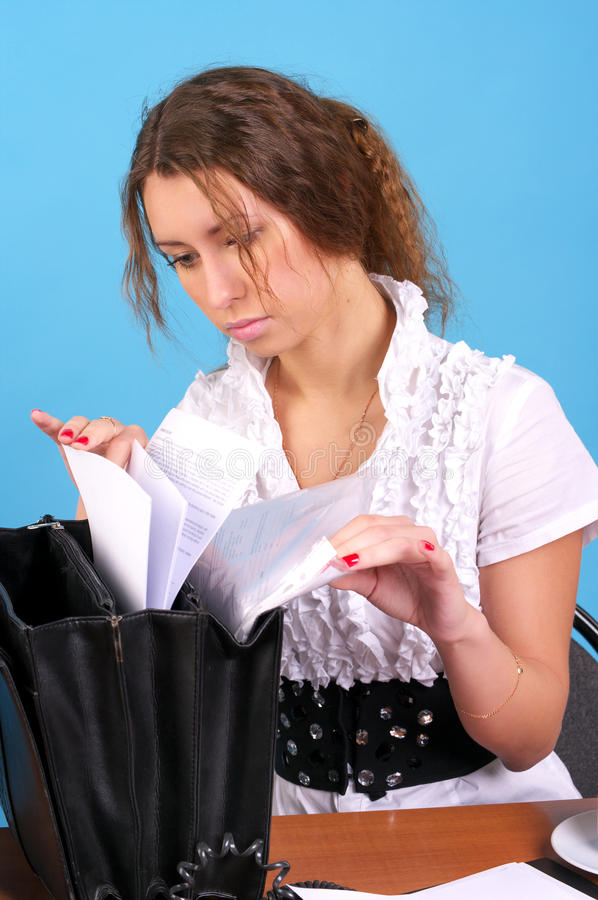 Download Young Businesswoman Searching Some Stock Image - Image: 18317935