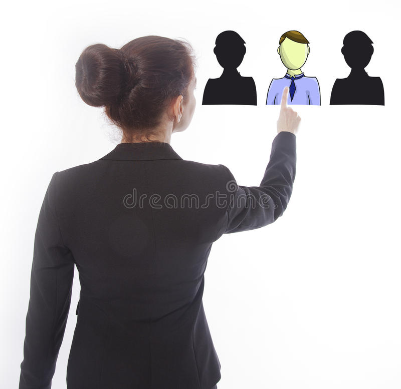 Young businesswoman selecting virtual online friends isolated royalty free stock photos