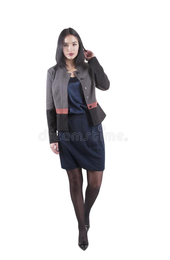 Young businesswoman serious formal brunette occupation isolated pretty standing stock photos