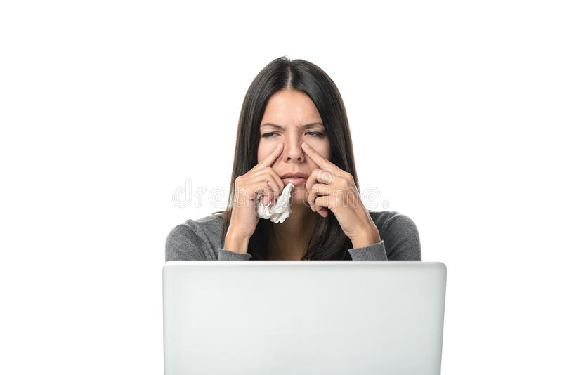 Young businesswoman with severe sinusitis royalty free stock photos