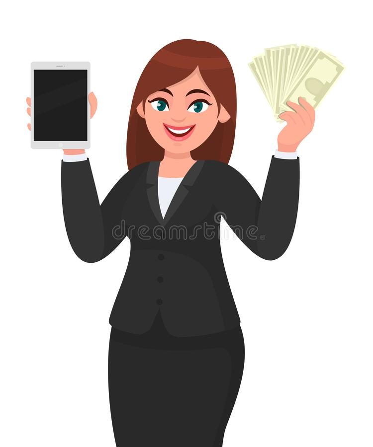 Young businesswoman showing a new digital tablet computer. Person holding cash, money, currency notes in hand. Female character. vector illustration