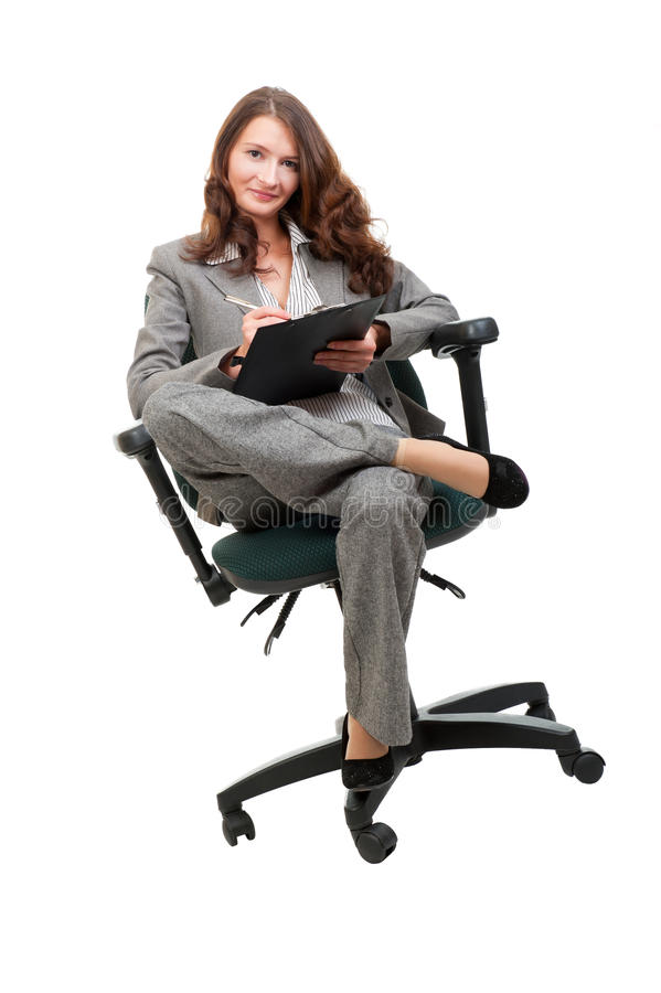 Download Young Businesswoman Siiting On Office Chair Stock Image - Image: 21297019