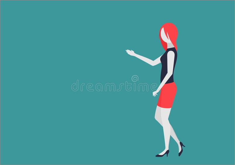 Young businesswoman shows something. character with moving body parts royalty free illustration