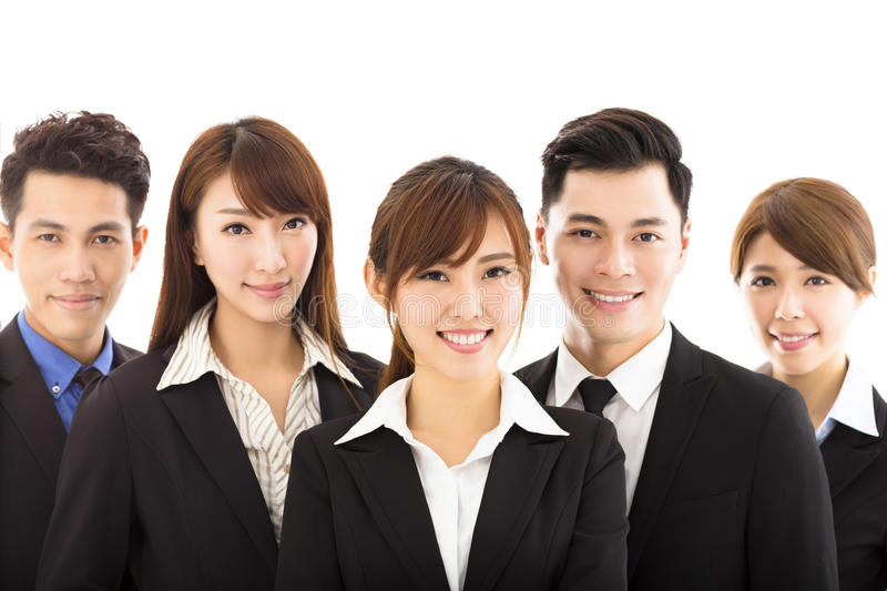 Young businesswoman with successful business team. Young asian businesswoman with successful business team royalty free stock photos
