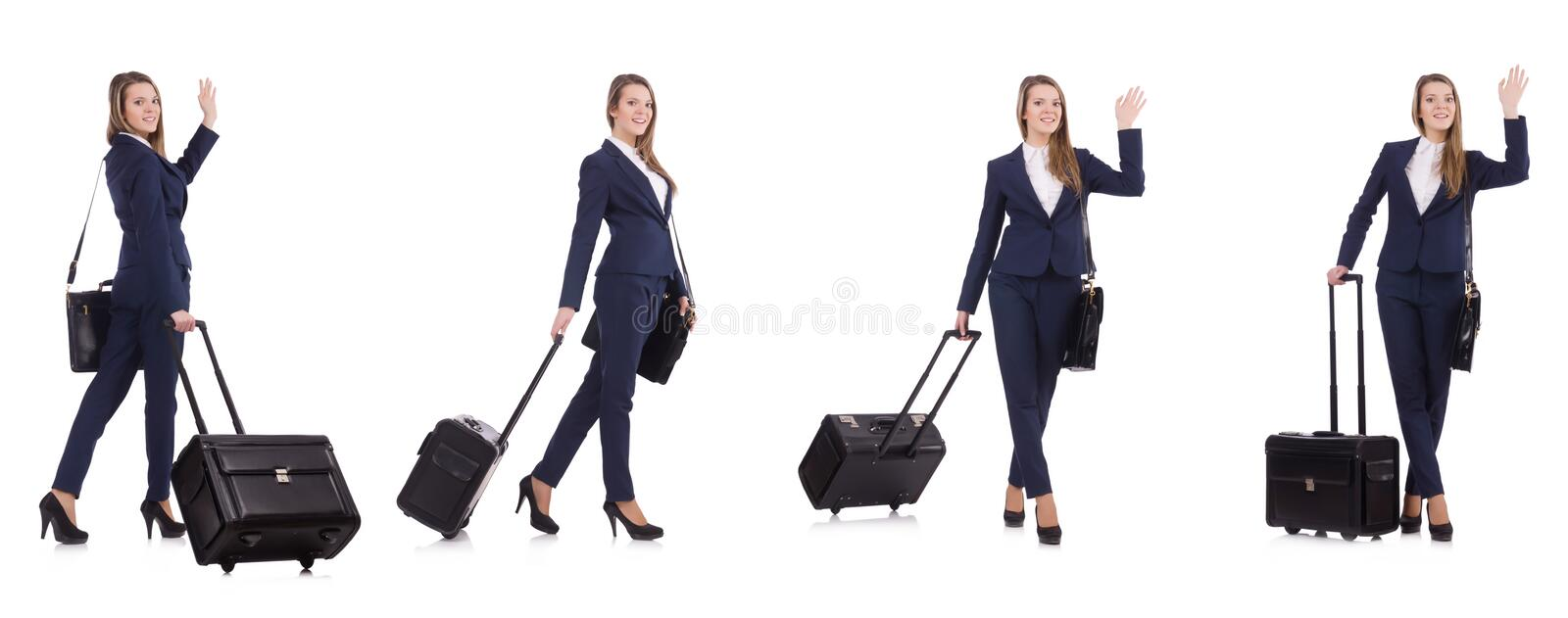 The young businesswoman with suitcase isolated on white royalty free stock photos