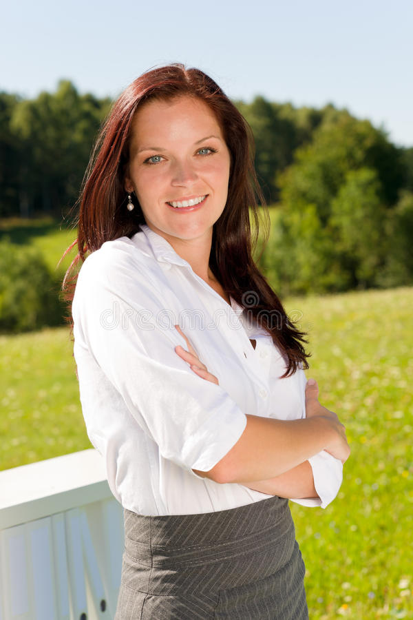 Download Young Businesswoman Sunny Nature Attractive Smile Stock Image - Image: 21031793