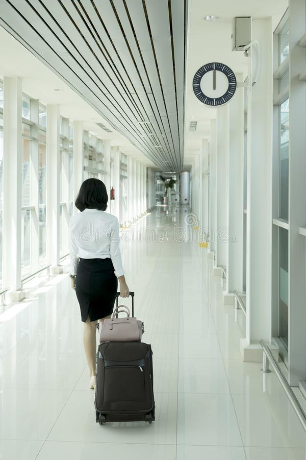 Young businesswoman walking in the train station royalty free stock photos