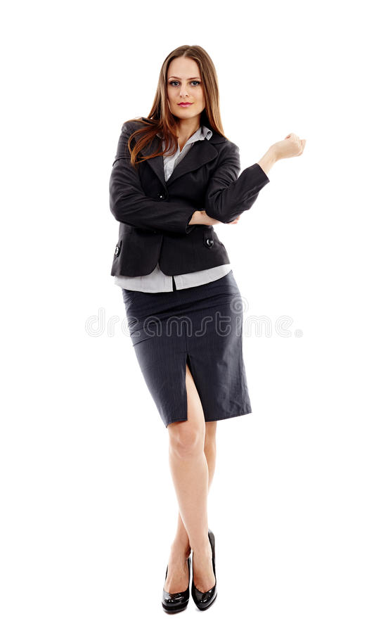 Young Businesswoman On White Background Stock Photos