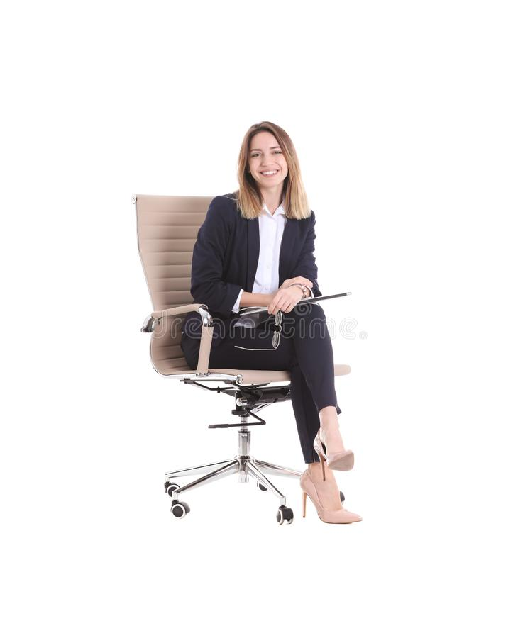 Free Young Businesswoman With Laptop Sitting In Office Chair Stock Image - 134346781