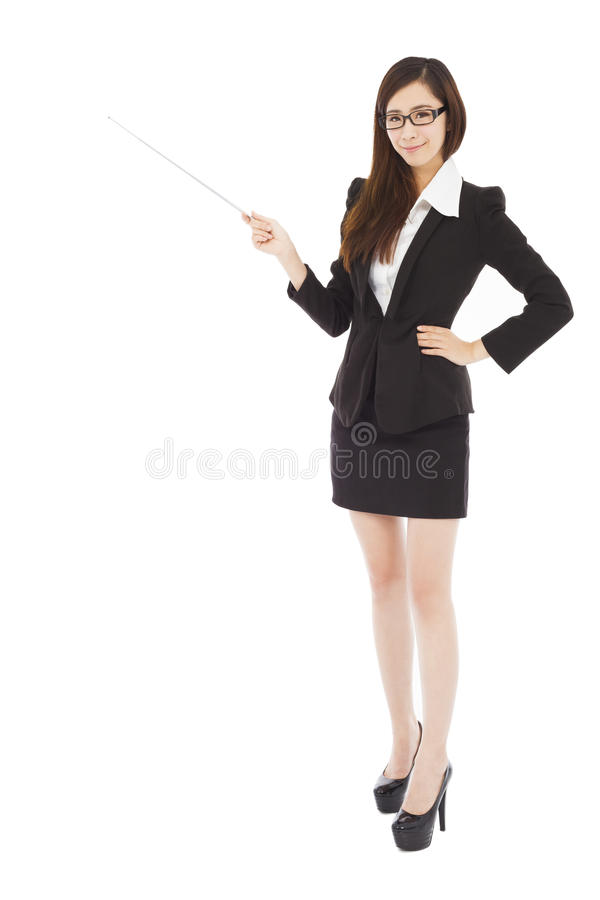 Young businesswoman wore a glasses and holding a baton royalty free stock photos