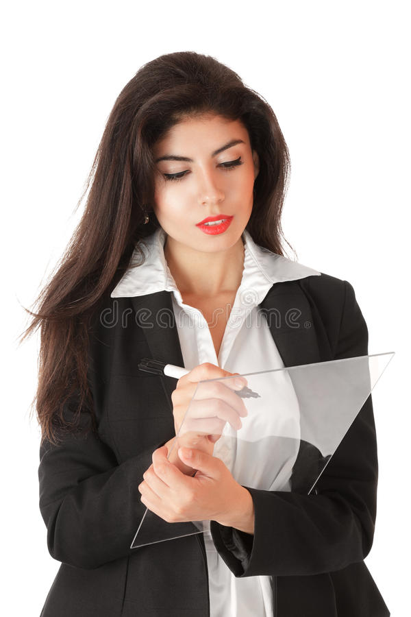Download Young Businesswoman Working On Stock Image - Image: 21803197