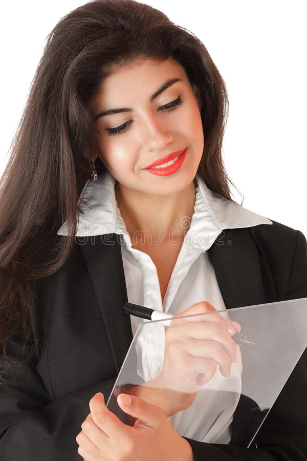 Download Young Businesswoman Working On Stock Photo - Image: 21803206
