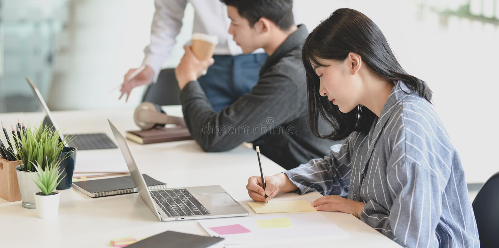 Young businesswoman working on her project with her team members discussing in the background stock images
