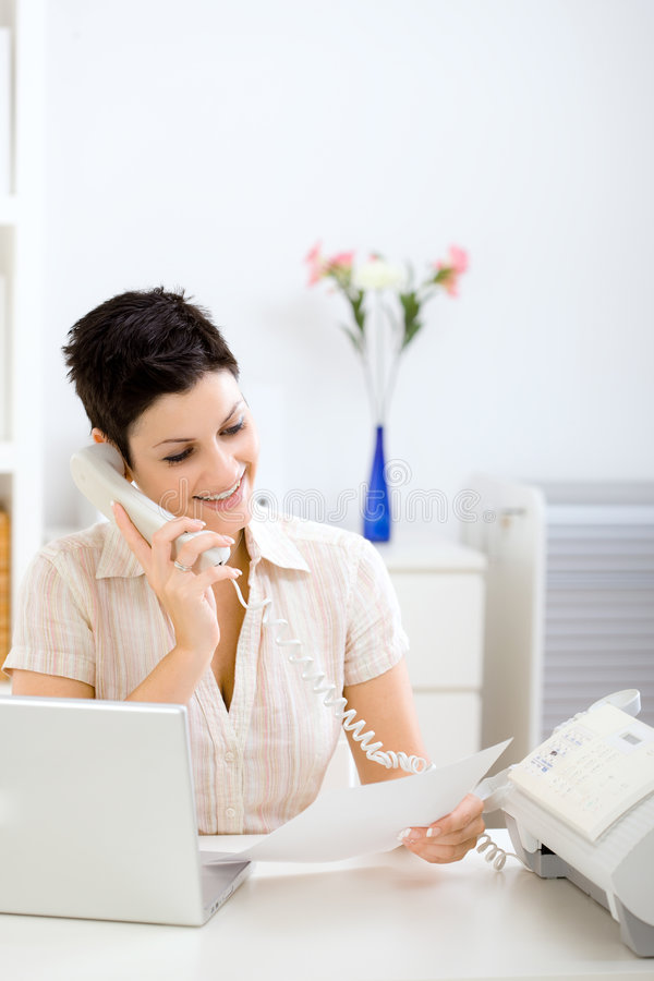 Young businesswoman working at home stock images