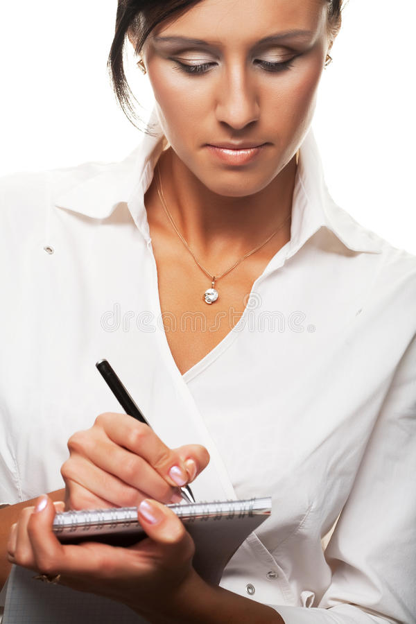 Free Young Businesswoman Write. Royalty Free Stock Photo - 12017955