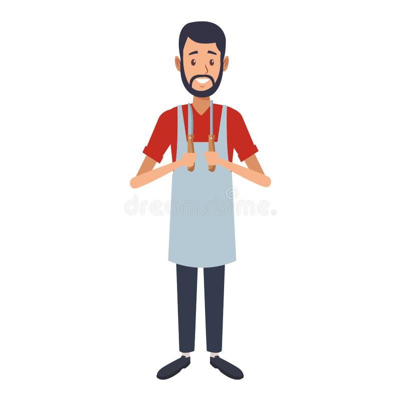 Young butcher man cartoon. Vector illustration graphic design royalty free illustration