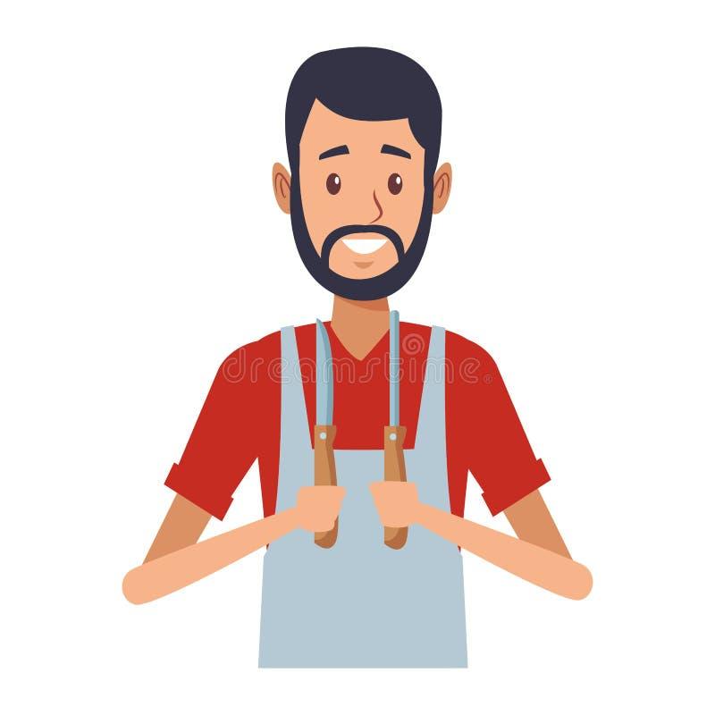 Young butcher man cartoon. Vector illustration graphic design vector illustration