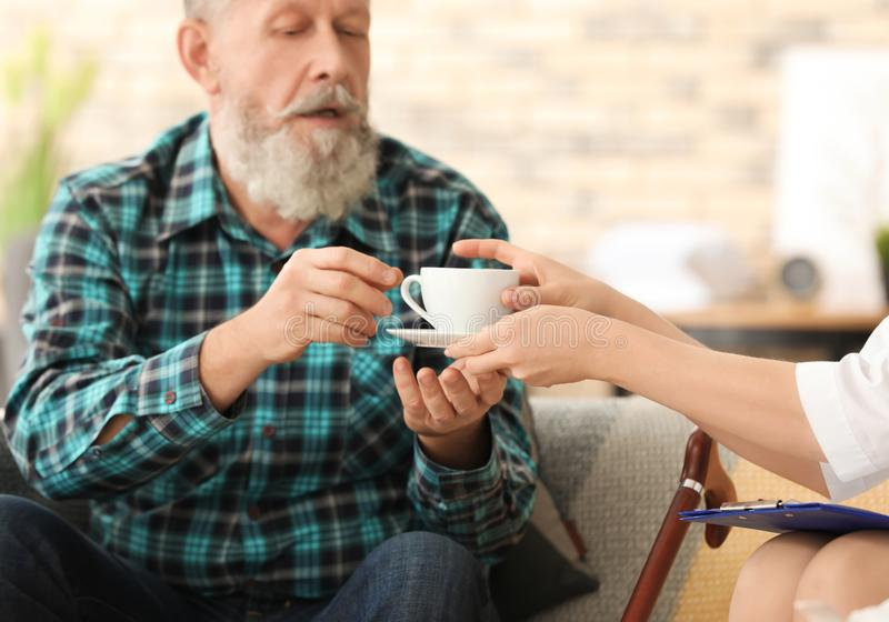 Young caregiver giving cup of tea to senior man. Young caregiver giving cup of tea to senior men at home royalty free stock image