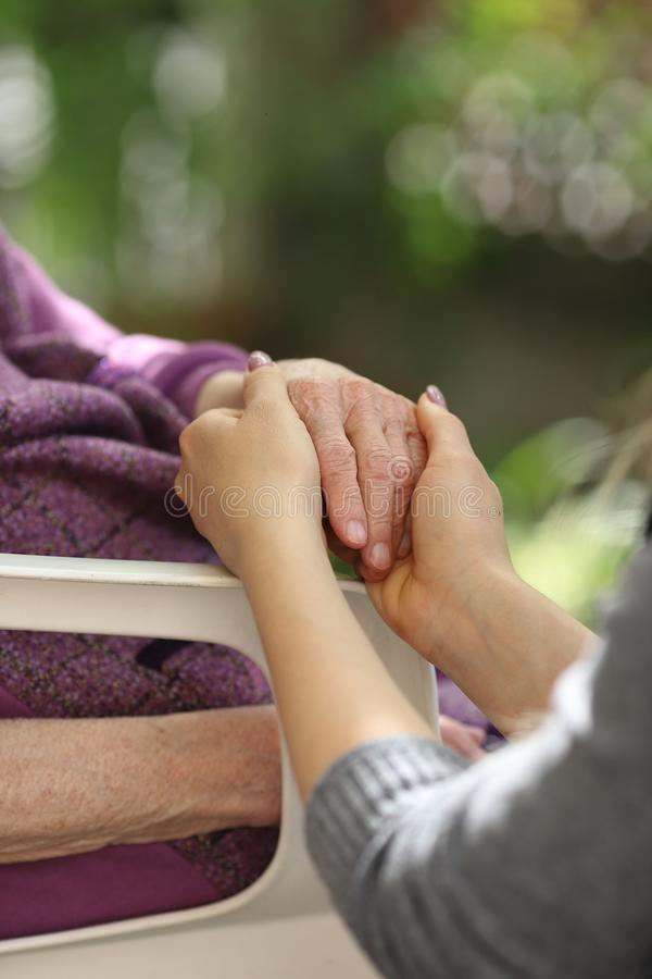 Young caregiver holding seniors hand. Elderly concept royalty free stock photo