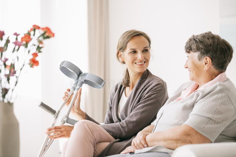 Caregiver and a ward stock photo