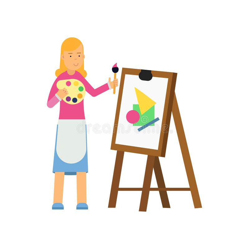 Young cartoon blonde woman character painting on canvas. Vector flat design illustration isolated on white background. royalty free illustration