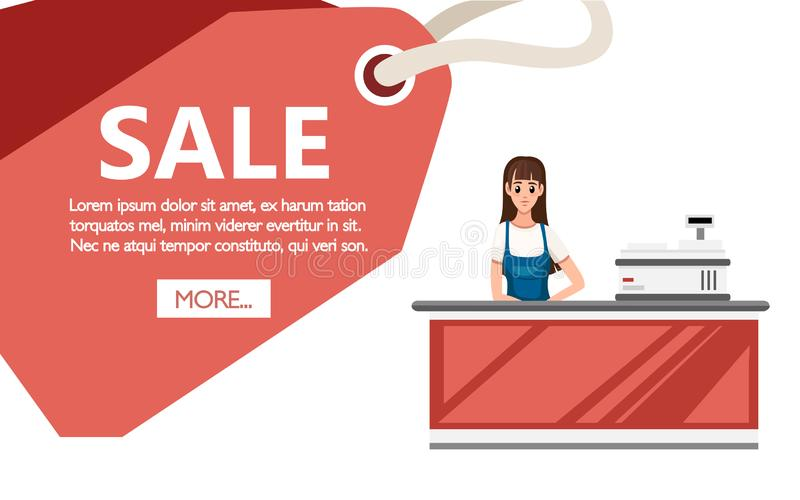 A Young cashier woman standing in supermarket. Checkout machine, cash register. Sale tag, place for text. Cartoon character design royalty free illustration