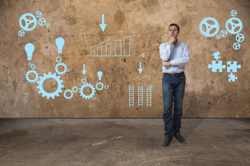 Young casual business man solving problems stock photo