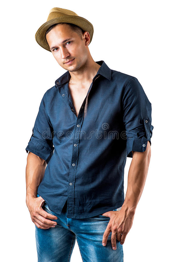 Young casual man isolated on white background stock image