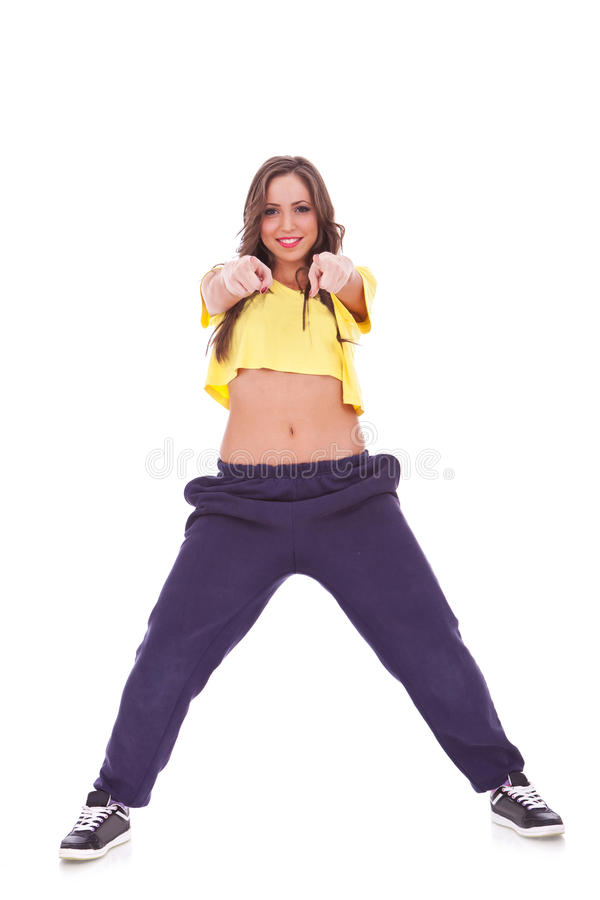 Download Young Casual Sporty Woman Choosing You Stock Image - Image: 25462667