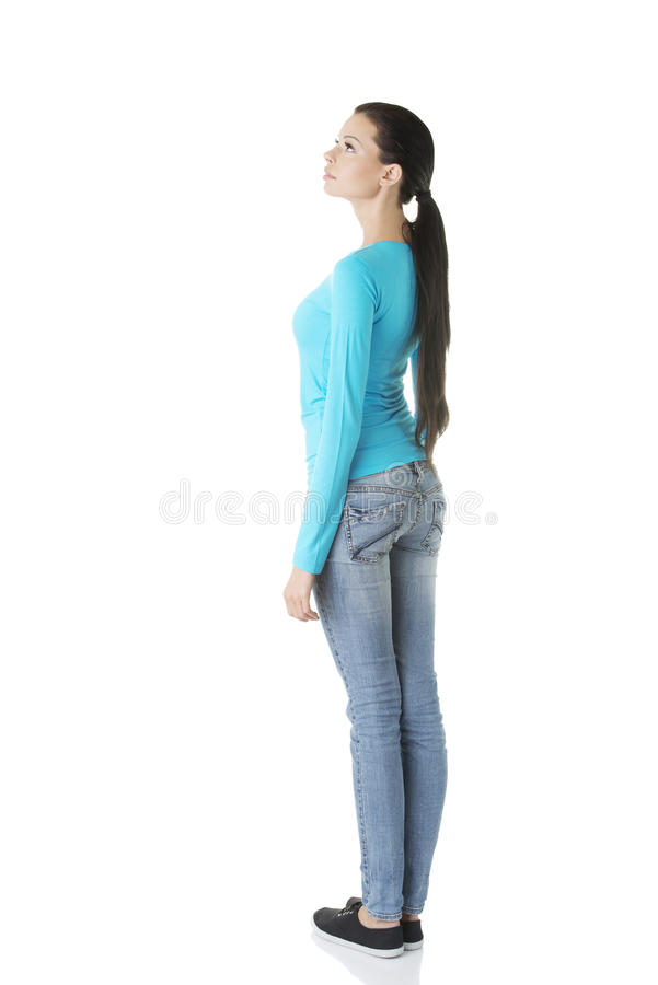 Download Young Casual Woman From Behind Looking Up Stock Photo - Image: 28735566