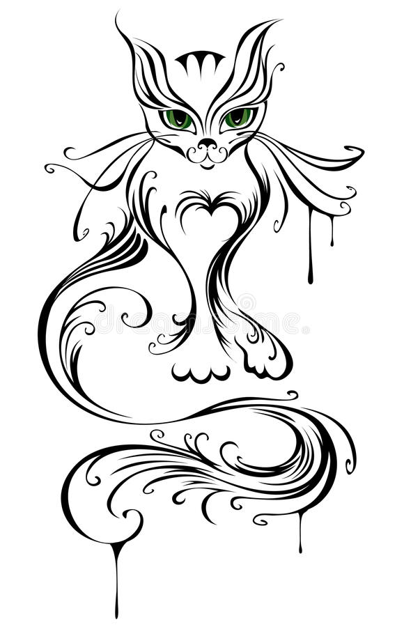 Download Young cat stock vector. Illustration of black, stylized - 27898998