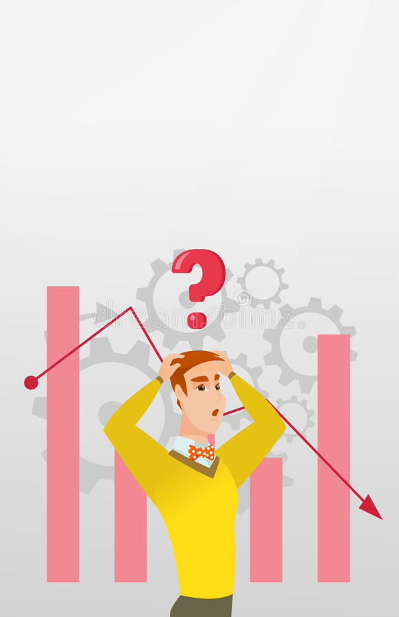 Young caucasian bankrupt man clutching his head. Young caucasian bankrupt clutching his head on the background of chart going down. Bankrupt with question mark royalty free illustration