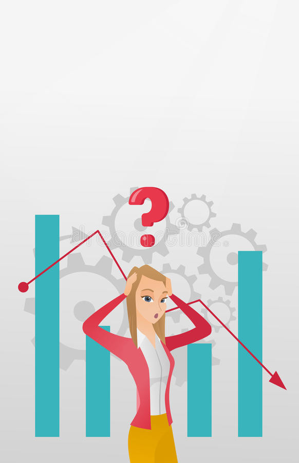 Young caucasian bankrupt woman clutching her head. Young caucasian bankrupt clutching head on the background of chart going down. Bankrupt woman with question royalty free illustration