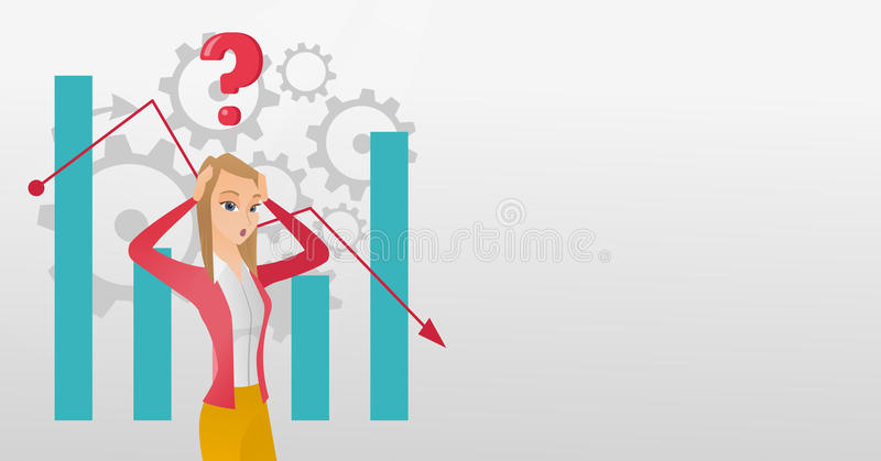 Young caucasian bankrupt woman clutching her head. Young caucasian bankrupt clutching head on the background of chart going down. Bankrupt woman with question vector illustration